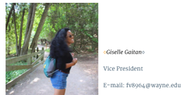 Meet Gigi, our Vice President! She is a Sophomore studying marketing and advertising and media arts and studies. You can catch her filming a video or singing a song in her favorite recycled clothing!She's involved in RHA, Student Senate, and AAF. She is passionate about social change, the environment, human rights, as well as education of diversity awareness!